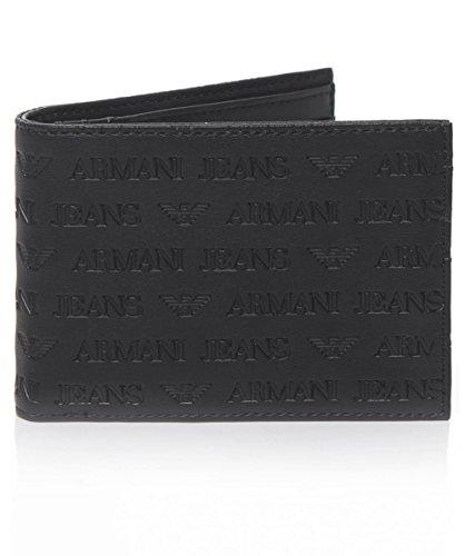 Armani-Jeans-Embossed-Billfold-Wallet-Black