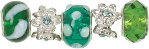 TealGreen Mix Trinkettes Glass And Metal Beads - 5 Ct - TealGreen Mix Trinkettes Glass And Metal Bea