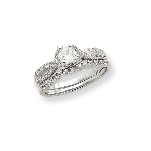 Sterling Silver 2-Piece CZ Wedding Set Ring Size 6