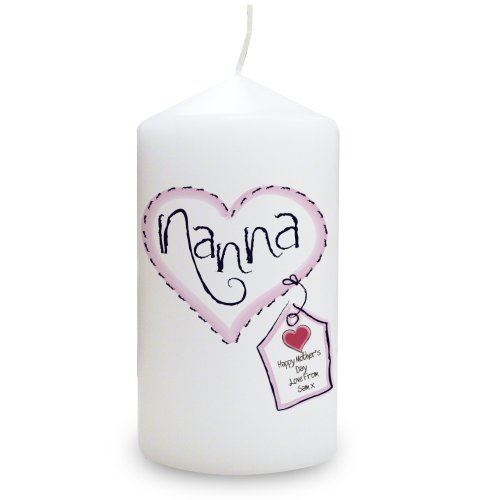 Heart Stitch Nanna Candle. This is a great product that can be personalised to your requirements ( please see main discription for full details ) Ideal gifts and presents for weddings, Christenings, Birthdays, Christmas etc...