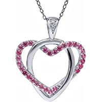 Pink Created Diamond Accent Heart Shape Pendant