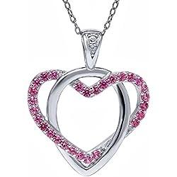 Beautiful Pink Created Sapphires & Diamond Accent Heart Shape 925 Silver Pendant