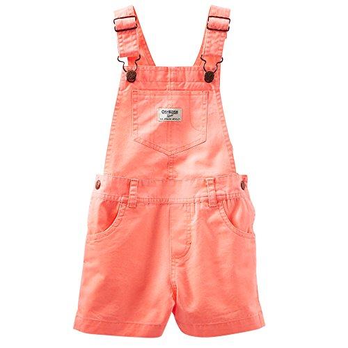 Oshkosh B'Gosh Neon Twill Shortalls (3T, Coral)