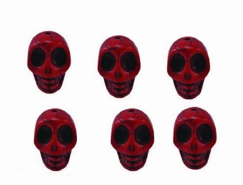 Red Magnesite Dyed Gemstone Beads Carved Skull Beads, 20 X 17 X 14 (6 Per Set)