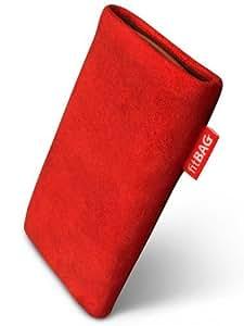 fitBAG Folk Rot Handytasche Tasche aus feinem Wildleder Echtleder mit Microfaserinnenfutter für HTC Desire S (Saga)