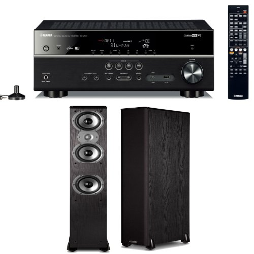 Yamaha Rx-V577 7.2 Channel Networking Home Theater Receiver Plus A Pair Of Polk Audio Tsi 400 Floorstanding Speakers