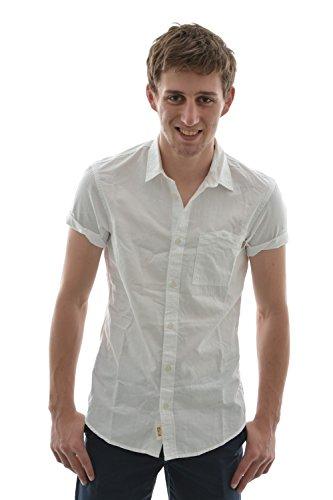 Camicia a maniche corte tom tailor 2029694 fitted,, shirt, 1/2, colore: bianco bianco Small