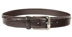 Quero Men's Double Print Casual Belt (4004_Brown_Small)