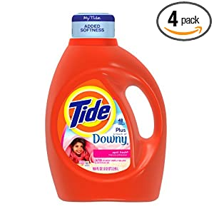 Tide with a Touch of Downy April Fresh Scent with Actilift, 100-Ounce Bottles (Pack of 4)