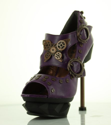 Lades Steampunk Sky Captain High Heel Shoes by Hades, UK Size 4.5 - Purple
