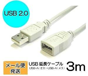 コアウェーブ 【送料込み】USB延長ケーブル3m USB2.0 Aコネクタ(オス)-Aコネクタ(メス) CW-AA3