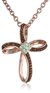 Stainless Steel Cross Shape Pendant Necklace in Gold Ion-Plated with Light Green and Brown Swarovski Crystals Chain