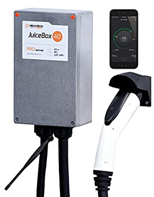 Electric Motor Werks, Inc. Pro 40A WiFi-equipped Plug-in Electric Vehicle Charger / Charging Station with 24-foot cable and NEMA 14-50 plug