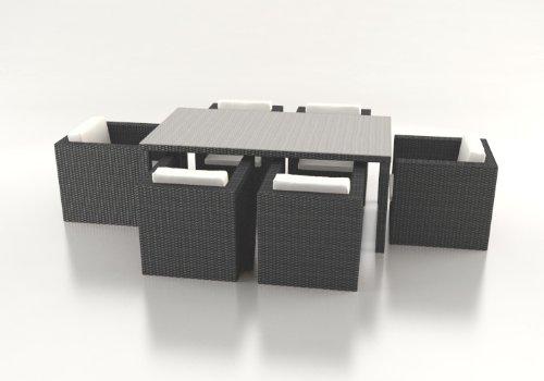 Polyrattan Esstisch Set DAVALI grau jetzt bestellen