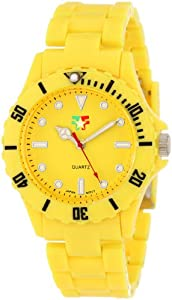 "Fancy Face Women's FF0096YE Candy Collection ""Fiona"" Yellow Sport Bezel Plastic Bracelet Watch"
