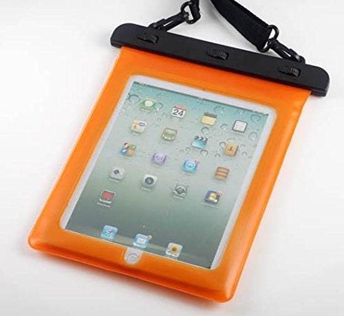 7-10 インチ タブレット用防水ケース 首掛け付き タッチペン セット ipad 2/3/4 Air1/2/ipad mini/ ARROWS Tab/dtab/ASUS/Xperia tablet/Galaxy note10.1 オレンジ