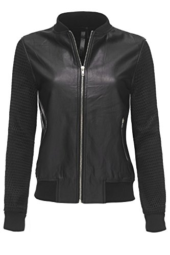 Black Faux Leather Bomber Zip Up Fish net Sleeve Jackets