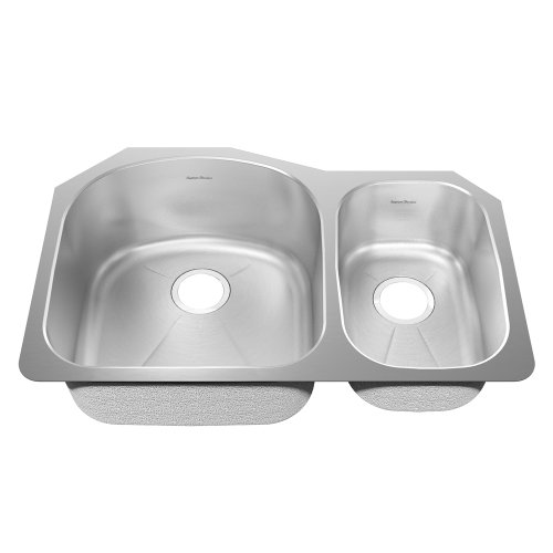 American Standard 14Cr.322100.073 Prevoir 31.50-Inch Stainless Steel Undermount Double Combination Bowl With Creased Bottom And Small Bowl On Right Kitchen Sink, Radiant Silk