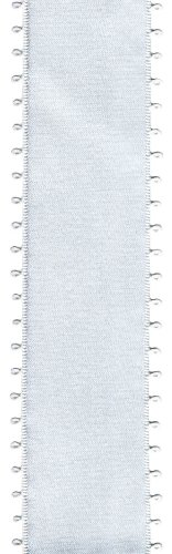 Offray Picot Double Face Satin Craft Ribbon, 1-1/2-Inch Wide by 10-Yard Spool, White