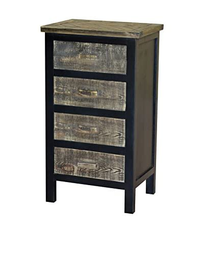 Gallerie Décor Woven Wood 4-Drawer Cabinet, Black