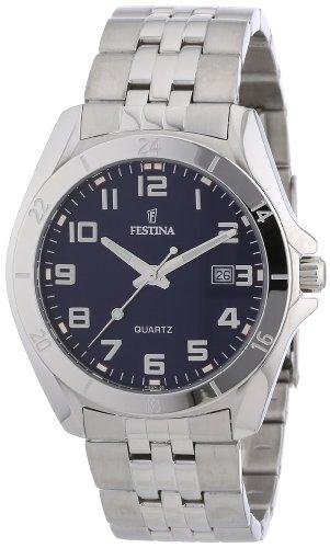 Festina F16278/4 - Reloj analógico de cuarzo para hombre con correa de acero inoxidable, color plateado
