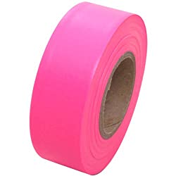 "Flagging Tape 1-3/16"" Non-Adhesive Plastic Ribbon, Fluorescent Pink"