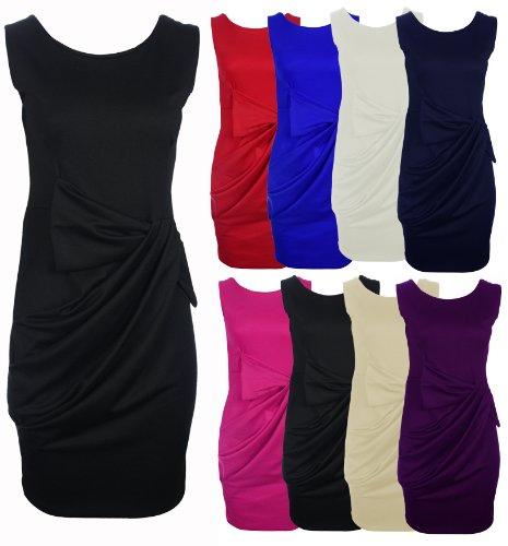Womens Ladies New Drape Bow Pleated Shift Dress in Black 8