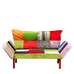Five patchwork vintage retro style sofa bed for Sofa bed amazon uk
