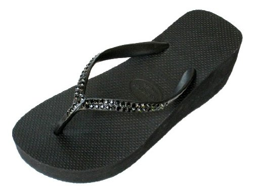 Cheap BLACK JET HIGH LOOK WEDGE Swarovski Crystal Havaianas Flip Flops Sandals Thongs sizes 6-9 (B002HI9HJS)
