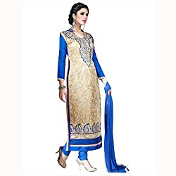 Parisha Latest Beige & Blue Embroidered Dress Material