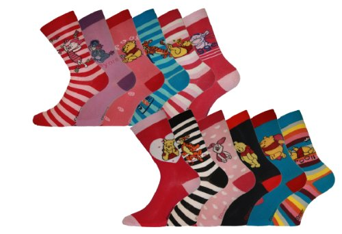 New Ladies Official DISNEY WINNIE the POOH Cartoon Character Short Socks. 12 Pair Pack. To Fit Shoe Sizes UK 4-6 EU 36-39