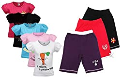 Goodway Pack of 8 -Girls Did You Know 5 Pack T-Shirts & 3 Pack Fashion Shorts Combo Pack
