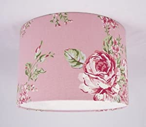 """11"""" Lampshade Handmade in UK - Pink Floral Shabby Chic Vintage Lampshade: Amazon.co.uk: Lighting"""