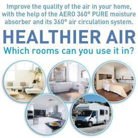 Healthier Air: Which rooms can you use it in? Pictures of living room, bathroom, bedroom, kitchen and caravan