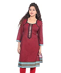 Lal Chhadi Women's 3/4 Sleeve South Cotton Red Kurta