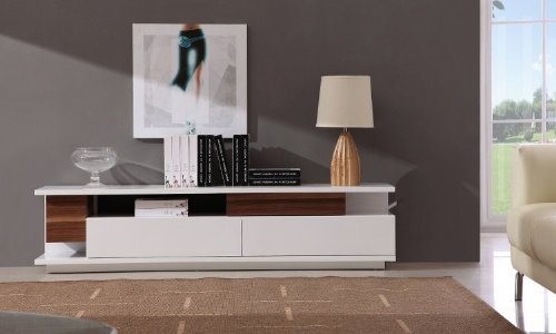 J and M Furniture TV 061 TV Stand White High Gloss, Light Walnut