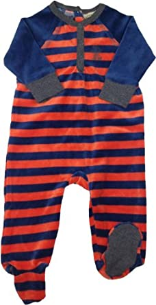 LITTLE PAW Baby Boys Velour Stretchie Pajamas - CY-A-604-B - Orange, 9 Months