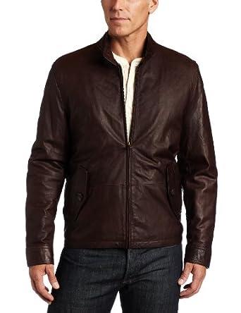 Tommy Hilfiger Men's Washed Leather Barracuda Collar Jacket, Brown, Medium