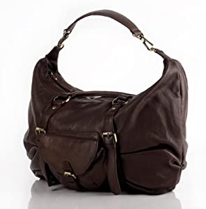 BACCINI XXL crossbody shoulder gaucho bag FIONNA for women - crafted gaucho tote in genuine brown leather (20 x 11 x 4 in.)