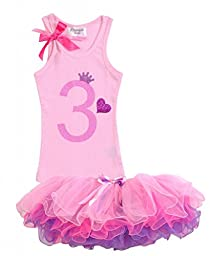 Bubblegum Divas Little Girls\' 3rd Birthday Shirt Light Pink Tutu Outfit 4