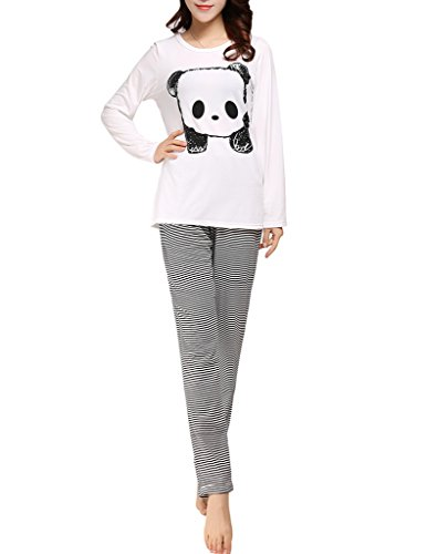 VENTELAN Women's Cute Panda Striped Long Sleeve Sleepwear Pjs Pajama Set Nighty