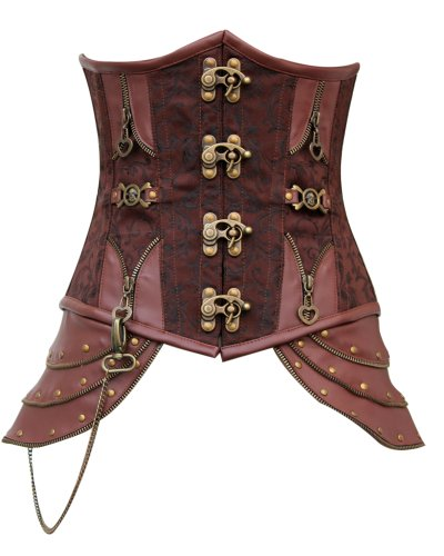 CD-466 - Brown Brocade Underbust Corset with Buckle Fastening - 36