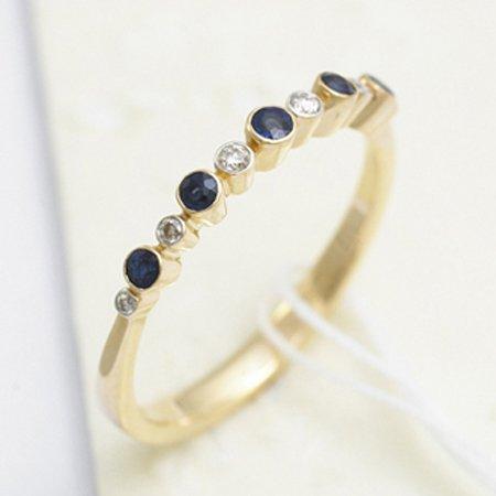 14K Yellow Gold 0.29Ct Bezel Set Diamond & Blue Sapphire Gemstone Journey Ring