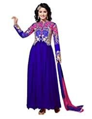 Lookslady Thread Embroidered Blue Georgette Semi Stitched Anarkali Suit
