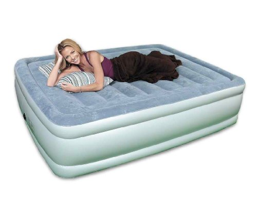 Quick Luxe ® Queen Size Raised Air Bed Mattress W/Flocked Top In Sky Blue