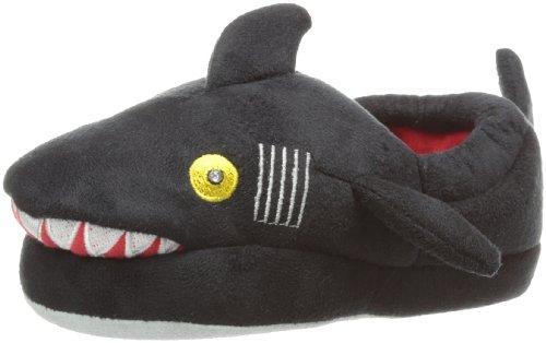 Stride Rite Little Boys' Light-Up Shark Slipper, Black, 11-12