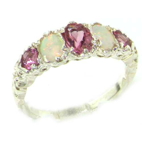 High Quality Solid Sterling Silver Natural Pink Tourmaline & Opal English Victorian Ring - Size 12 - Finger Sizes 5 to 12 Available - Suitable as an Anniversary ring, Engagement ring, Eternity ring, or Promise ring