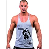 Dk BODY BUILDING STRINGER, GYM VEST, VEST, GYM STRINGER VEST 100% COTTON - Grey Printed