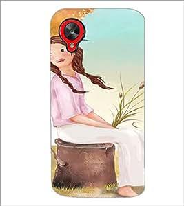 PrintDhaba Sitting Girl D-2658 Back Case Cover for LG GOOGLE NEXUS 5 (Multi-Coloured)