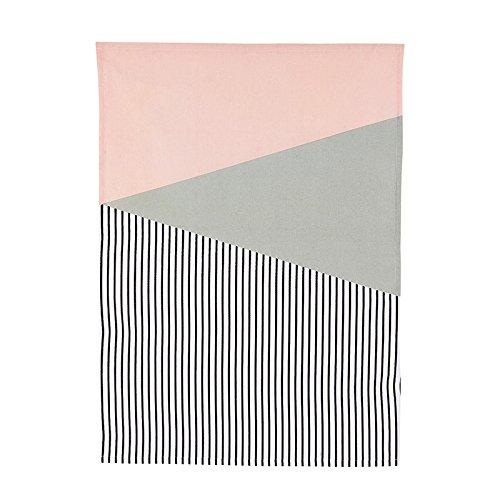 HOUSE DOCTOR Af0900 Geschirrtuch 'Geo', 50x70cm, 100% Baumwolle, Farbe:rosa/weiss/hellgrau